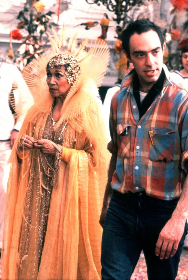 Elisabeth Welch and Derek Jarman on the set of The Tempest (1979)