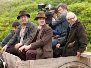 Director Ken Loach and crew on location for Jimmy's Hall (2014)