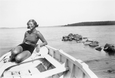 Young Ingrid Bergman cooling off in Stockholm's Lake Mälaren, Sweden circa 1932 (Private photo)