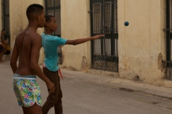 Handball is a popular game in the streets of Havana when the sun sets. Photograph: Georgia Korossi/11polaroids