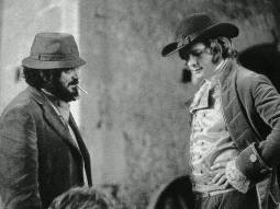 Director Stanley Kubrick and actor Ryan O'Neal in between shots