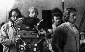 Director Stanley Kubrick with his crew on location