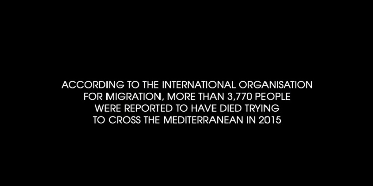 An opening card featured in the UK trailer of Fire At Sea (2016) directed by Gianfranco Rosi