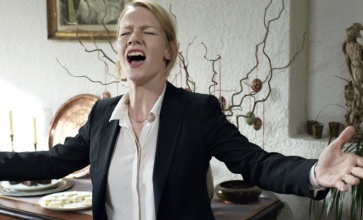 Sandra Hüller's Ines in Maren Ade's much loved film Toni Erdmann (2016). Here Hüller sings Whitney Houston's Greatest Love of All to a Romanian family gathered together to celebrate Easter.
